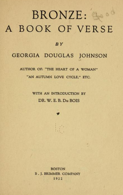 Bronze By Georgia Douglas Johnson 1922